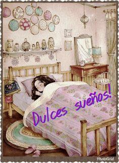 Imágenes y mensajes de Buenas noches Good Night Gif, Good Night Wishes, Good Night Image, Hello In Spanish, Night Quotes, Sweet Dreams, Good Morning, Life Hacks, Toddler Bed