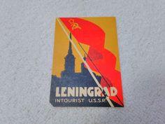 Vintage Russia/Russian Leningrad Intourist USSR Luggage Label