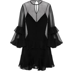 Alex Perry Elizabeth Black Silk Loose Ruffle Mini ($1,985) ❤ liked on Polyvore featuring dresses, black, mini dress, loose dress, mini cocktail dresses, tiered dress and tiered ruffle dress