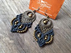 Macrame earrings - WIll be made to order in the color of your choice  You will receive 1 pair of earrings in antique bronze finish, please see