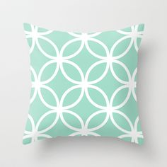 Mint Geometric Circles Throw Pillow