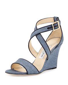 Fearne Raffia Crisscross Wedge Sandal, Navy by Jimmy Choo at Neiman Marcus.