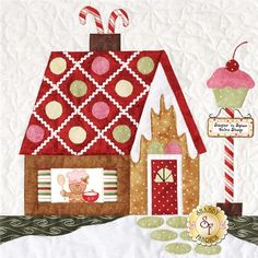 """Celebrate Christmas with this adorable Gingerbread Village quilt! The Gingerbread Village quilt finishes to approximately 62"""" x 72"""" and is overflowing with adorable gingerbread houses, snow covered pine trees and plenty of gingerbread men!  Kit includes all seven patterns, the accessory packet, all top fabrics, borders, binding, embroidery floss and ric rac. The coordinating backing fabric is available as a separate purchase (optional item) below. Fabrics are 100% cotton and will be exactly…"""