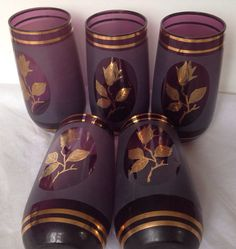 Set Of 5 1950's Amethyst Frosted Drinking Glasses With Applied Gold Leafs on Etsy, $25.89
