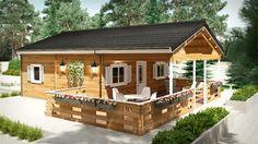 ANTARES A 50 m² 600x600 con porche y ático Bungalow de madera , Bungalows