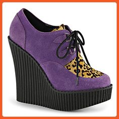 Womens Closed Toe Wedges Purple Creepers Shoes Leopard Print Platform Boots 5 ¼ Size: 7 - Oxfords for women (*Amazon Partner-Link)