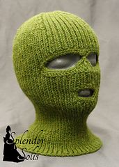 Pattern for a knitted Balaclava with crocheted eye- and mouth openings.