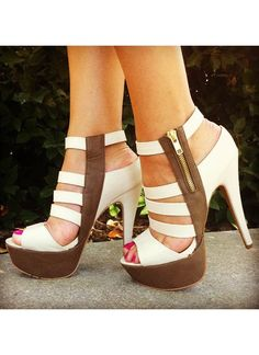 Women's #Fashion #Shoes: White and Brown Triple Ladder High Heels