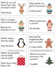 13 Awesome christmas cracker jokes for kids images Christmas Riddles For Kids, Christmas Party Games, Free Christmas Printables, Christmas Humor, Winter Christmas, Holiday Fun, Christmas Crafts, Kids Christmas Crackers, Xmas Party