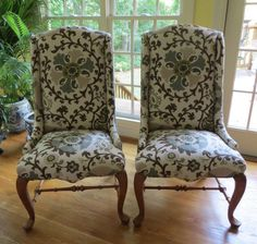 Pair of Ethan Allen Accent Chairs in P. Kaufman by WydevenDesigns
