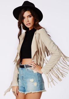 Channel your inner hippie for a summer of love this season and treat yourself to our vintage style fringed jacket. In soft touch faux suede, this cool cropped jacket could not be more on-trend this season. Style yours with high-waisted deni. Vegan Clothing, Dressing, Fashion Essentials, Style Essentials, Summer Jacket, Fringe Jacket, Cute Jackets, Vintage Bohemian, Vintage Style