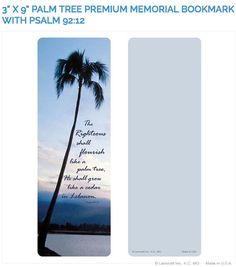 "Create laminated memorial bookmarks with Lamcraft's 3"" x 9"" Palm Tree Premium Memorial Cards"