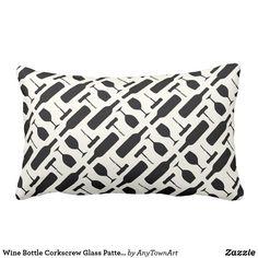 Wine Bottle Corkscrew Glass Pattern in Black Throw Pillow
