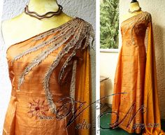 "Elia Martell Gown This item is ready to ship. Please note this is the last piece and I will not sew this costume again. This gown is my own cration, inspired by the Dornish fashion in HBO's show ""Game"
