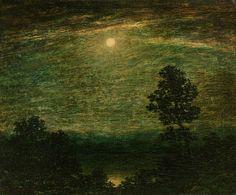 Moonlit Lake, Ralph Albert Blakelock. American Tonalist Painter (1847 - 1919)