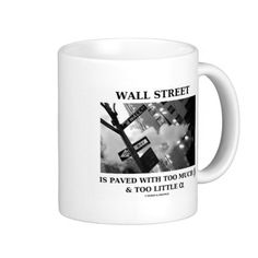 """Wall Street Is Paved With Too Much Beta Alpha Coffee Mug #wallstreet #pavedwithtoomuch #beta #alpha #geek #econ #economics #humor #funny #wordsandunwords #economist #investor #investing Mug featuring the following truism along with Wall Street signage: """"Wall Street Is Paved With Too Much Beta & Not Enough Alpha""""."""