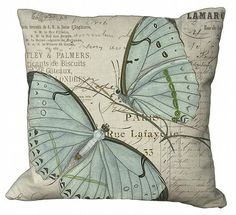 Aqua Blue Butterfly Pillow Cover by Soeuralasoeur on Etsy, $35.00