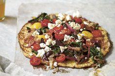 Simple supper - grain-free CAULIFLOWER PIZZA recipe.