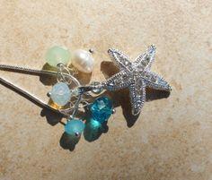 Stunning Crystal Starfish Necklace Ocean Aqua by InaraJewels, $26.95
