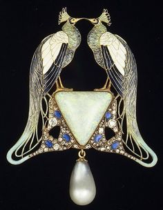 "Pendant, ca. 1901  René-Jules Lalique (French, 1860–1945)  Gold, enamel, opal, pearl, diamonds  ""René-Jules Lalique started his work as jewelry designer in 1874 working as an apprentice to the goldsmith Louis Aucoc in Paris and later moved to London. He worked as a freelance artist, designing pieces of jewelery for French jewelers, Cartier, Boucheron and others."""