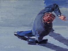 "Saatchi Online Artist: Warren Keating; Oil, 2013, Painting ""Man Looking At Watch In Paris"""