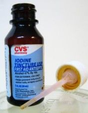 Most people are deficient in iodine, and there is a simple test that can be used to determine if you are deficient: 1.Apply standard 2% topical iodine in a circular area that is about the size of a silver dollar on the abdomen, and allow it to completely dry before redressing. 2.Check to see if it almost completely disappears in 12 hours. If the iodine disappears within 12 hours, then you are iodine deficient. If deficient, take red marine algae supplements, NOT iodine orally.
