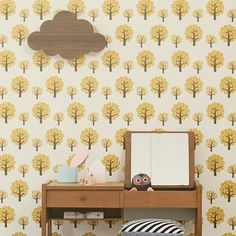 Ferm+Living+Boompjes+wallpaper+yellow+10.05mx53cm