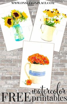 Fall Watercolor Printables: Sunflowers, Mums & Black-Eyed Susans Free printables to make your own DIY Wall Art Arts And Crafts, Paper Crafts, Diy Crafts, Decor Crafts, Home Decor, Diy Wall Art, Diy Art, Diy Spring, Black Eyed Susan