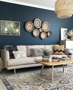 Diy Home Decor Living Room, Navy Blue Living Room, Beige Living Rooms, Accent Walls In Living Room, Living Room Color Schemes, Living Room Designs, Blue Living Room Paint, Grey Living Room Ideas Colour Palettes, Blue Grey Rooms