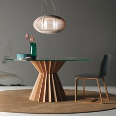 Superstar by Linfa Design is a dinner table with an oak base and a tempered crystal top. Round Wooden Dining Table, Wooden Dining Table Designs, Antique Dining Tables, Glass Dining Table, Dining Table Chairs, Wooden Tables, Dining Room Inspiration, Design Inspiration, Dinner Table