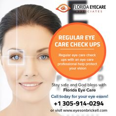 Regular Eyecare check ups with an eye care professional help protect your vision… Brickell Miami, Optometry Office, Eye Exam, Care Logo, Marketing Program, Dark Circles, Internet Marketing, Clinic, Stay Safe