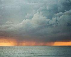 Ocean Photograph Winter Storm Clouds Sunset Grey by BreeMadden, $30.00