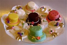 Inspired by commercially baked cookies, Easter Egg Tea Sandwiches and Spring Bonnet Two Tier Hat sandwiches are easy to create by simply using whipped cream cheese, pound cake, and buttercream icing as your base with oval and round cookie cutters for your shapes.