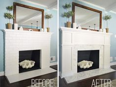 I actually prefer the painted brick, but love that giant clamshell and black interior paint!  Fireplace Makeover: Stick A Fork In It | Young House Love
