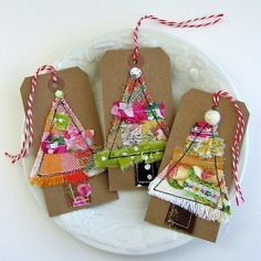 Fabric Holiday Tags Fabric Scrap ChristmasTree by tracyBdesigns
