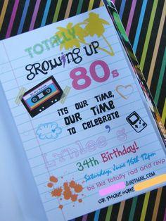 Cute 80's invite