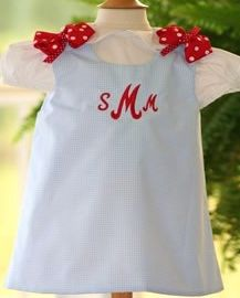 f94f2509cd10 Light Blue Gingham Jumper with Red Polka-Dotted Bows Item No  1002. Jolly  Rompers