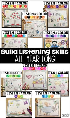 Listening skills Activities - This listening activity is a must-have for elementary classrooms!! Students build their listening skills with this fun following directions activity! Teachers teach students to follow directions the first time with two differentiated levels of directions, single-step and multi-step directions. Teachers can use this as a following directions assessment, too, as color-coded answer keys are included. First Grade Classroom, Primary Classroom, Future Classroom, Classroom Ideas, First Grade Activities, Color Activities, Following Directions Activities, Listening Skills, Listening Centers