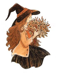 Halloween Witch with autumn flowers Autumn Witch, Autumn Art, Autumn Aesthetic, Witch Aesthetic, Inktober, Fall Drawings, Witch Drawing, Autumn Illustration, Under Your Spell