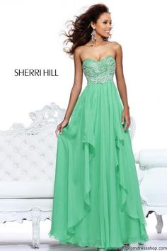 Sherri Hill Strapless Green Prom Dress 3874