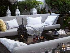 Moroccan themed grey and white patio