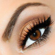 @labella2029   Beautiful peachy and brown eye makeup makes brown eyes pop!