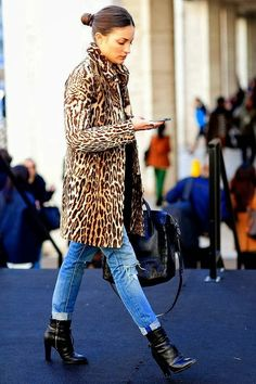 Leopard coat and denim