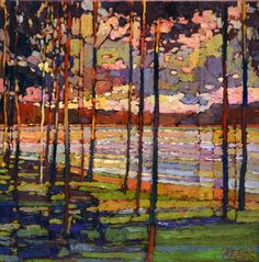 Untitled by Bob Kebic, Oil on Canvas, Painting Landscape Artwork, Abstract Landscape Painting, Watercolor Landscape, Birches, Canadian Art, Impressionist Art, Paintings I Love, Painting Canvas, Klimt