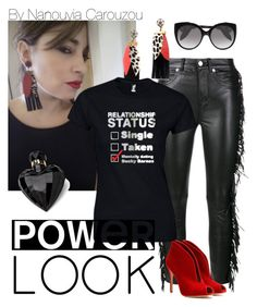 """Power look..fringes and red lipstick.."" by nanouyia ❤ liked on Polyvore featuring Yves Saint Laurent, Gianvito Rossi, Lipsy and Alexander McQueen"