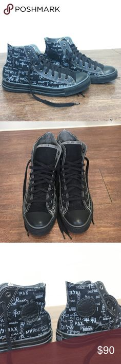 CONVERSE CHUCK TAYLOR Rare Peace Hi Top Size 11 Try to find it. it's a tough one. It is in pristine condition. Not even any wear to the insole. Converse Shoes Sneakers