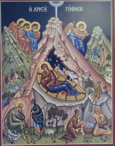 Orthodox icon of the Nativity depicting Jesus born in cave