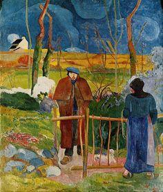 Bonjour Monsieur Gauguin 1889  Galeria Nacional de Praga  Paul Gauguin pintou a si mesmo compulsivamente, cada vez descobrindo que ele tinha se transformado em uma nova pessoa.   No entanto, é 1889, que deve ser considerado  o ano miraculoso de Gauguin para a auto-reinvenção.   Este trabalho foi produzido em resposta à pintura de Gustave Courbet que Gauguin viu no Museu Fabre em Montpellier, em Dezembro de 1888.   O tema de inspiração foi Bonjour Monsieur Courbet, uma pintura que fazia parte…