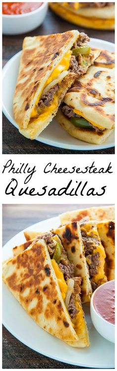 Philly Cheesesteak Quesadillas are loaded with meat, cheese, pepper & onions. Serve with marinara sauce, ketchup, or sour cream. Tacos, Tostadas, Mexican Food Recipes, Beef Recipes, Cooking Recipes, Oats Recipes, Recipies, I Love Food, Good Food