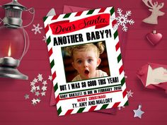 Christmas Pregnancy Announcements / Dear Santa, Second, Third, Fourth Baby / Funny / Pregnancy Reveal Idea / Digital or Printed Cards